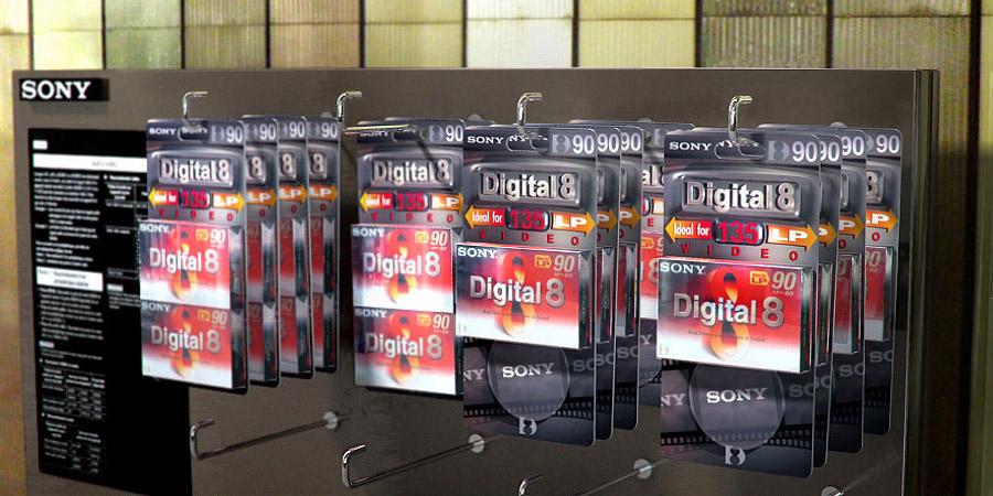 Réalisation d'une illustration 3D et création graphique pour le blister SONY Digital 8